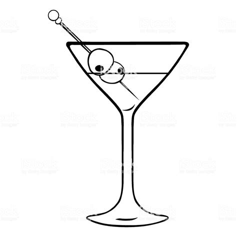 vintage martini illustration vector lineart martini glass with olives stock vector