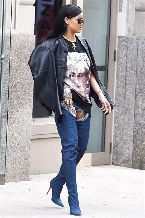 Harga Rihanna White tren boots denim selebriti dipakai syahrini sai
