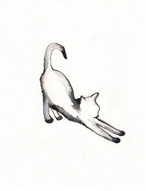 black and white cat tattoo cat watercolor printable instant