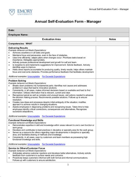 self appraisal form template 9 work evaluation form sles templates pdf doc