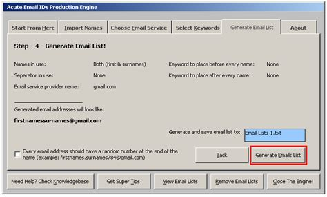 email random screenshots acute email ids production engine