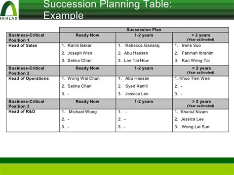 ceo succession plan template plan template