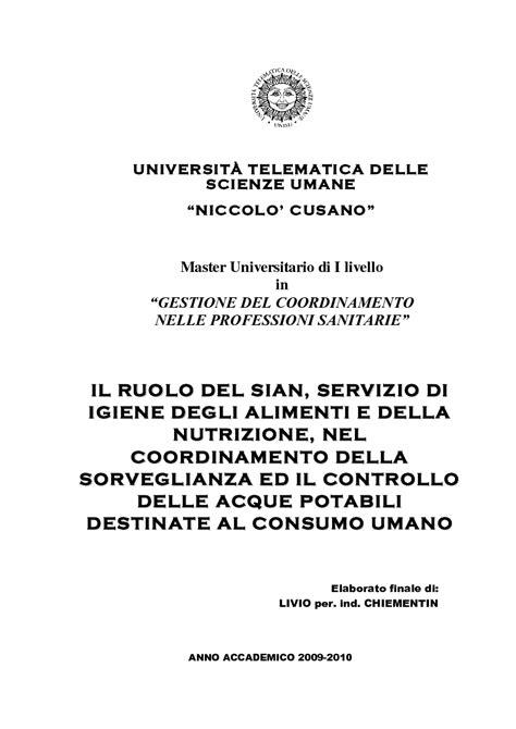 servizio igiene degli alimenti e della nutrizione universit 192 telematica delle scienze umane niccolo cusano