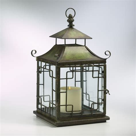 cyan pagoda candle lantern verde 01638 asian