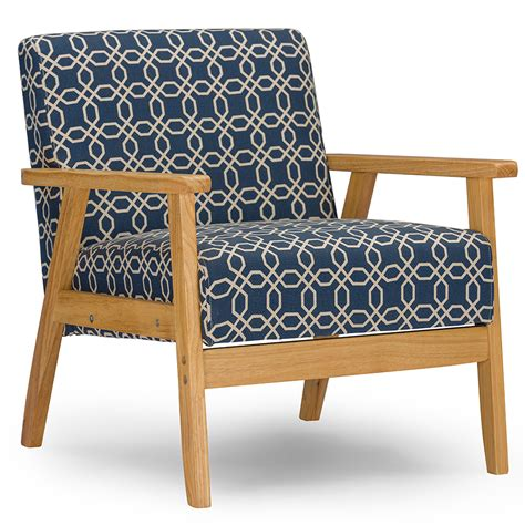 patterned fabric recliners baxton studio francis retro mid century navy blue