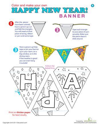 new year banner craft new year arts and crafts banner worksheets banners and