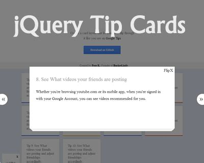 card layout js jquery tip cards uicorner user interface design