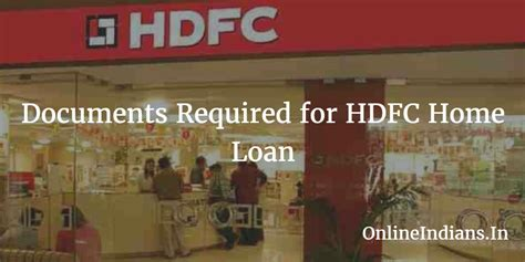 documents required for hdfc home loan indians