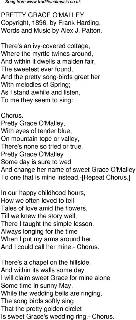 Wedding Bells Are Ringing In The Chapel Lyrics by Time Song Lyrics For 51 Pretty Grace Omalley