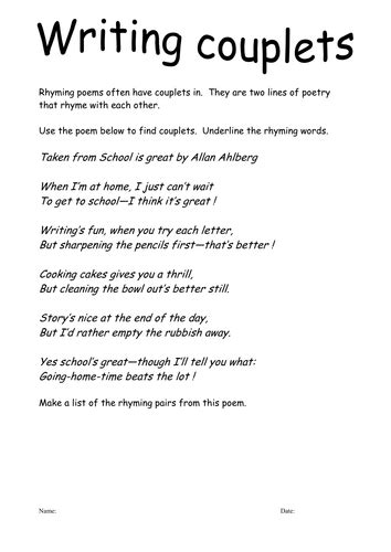 year 1 poetry pattern and rhyme planning couplets by njonesford teaching resources tes