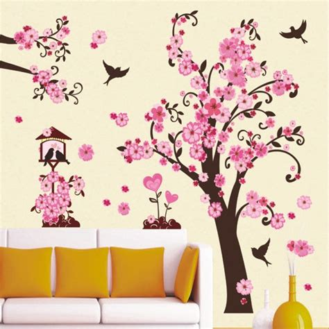 romantic wall stickers for bedrooms new arrivals diy wall art decal decoration fashion romantic flower tree 3d wall