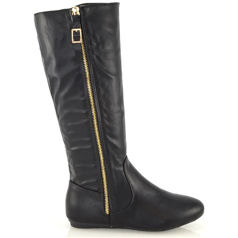 womens knee high winter fur lined leather look calf flat