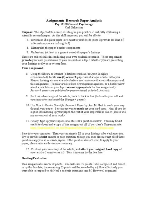 research paper assignment sheet assignment research paper analysis 1 academic publishing