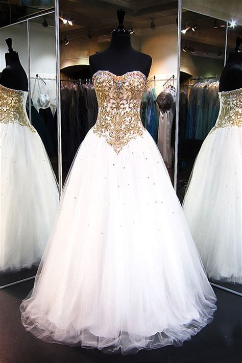 strapless white tulle gold lace beaded prom dress