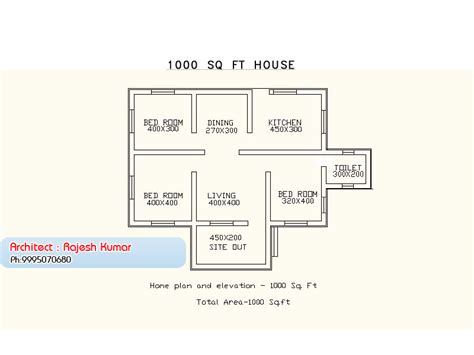 Small Kitchen Floor Plan 1000 square feet 3 bedroom low budget kerala style home