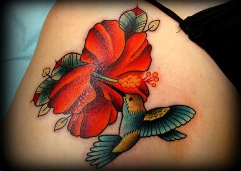 hummingbird hibiscus flower tattoo tattoo ideas