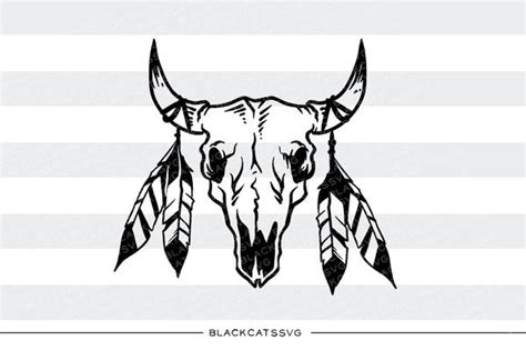 bull skull  feathers svg file cutting file clipart