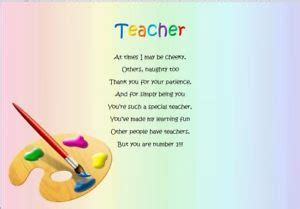 thank you teacher end of term personalised poem