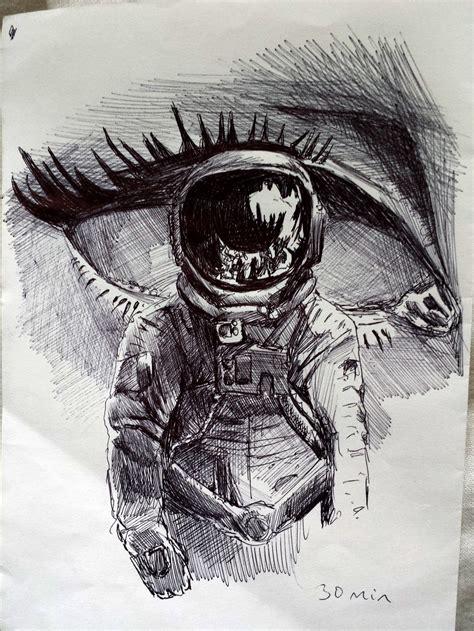 imagenes artisticas tristes tumblr hipster art astronuta ojo a lapiz dibujo