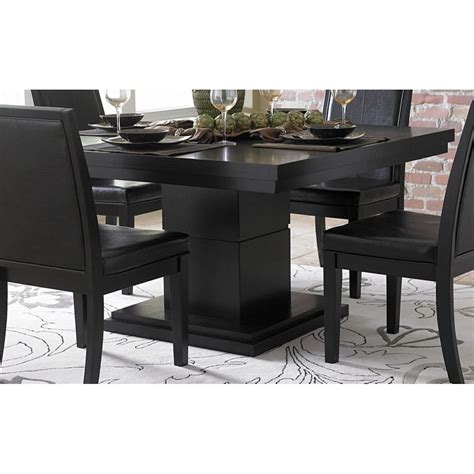 dining table on cicero modern black square pedestal