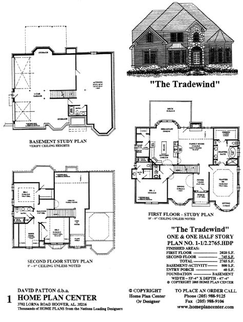 1 1 2 Story Floor Plans home plan center 1 1 2 2765 tradewind