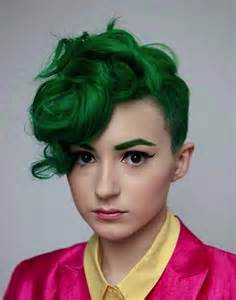 hairstyles done on a mannequin with green hair short hairstyles and cuts forest green hair color for
