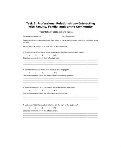 Professional Feedback Form Template