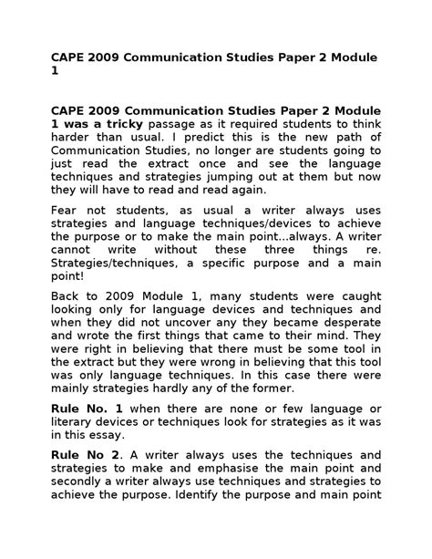 Communication Studies Cape Essays by 29392134 Cape 2009 Communication Studies Paper 2 Module 1 By Jahnoi Issuu