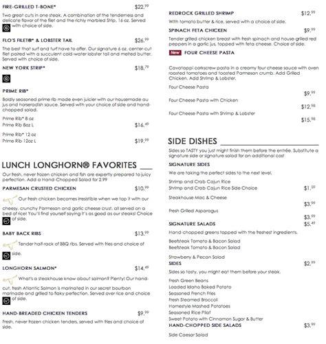longhorn steak house menu photo longhorn steakhouse menu images