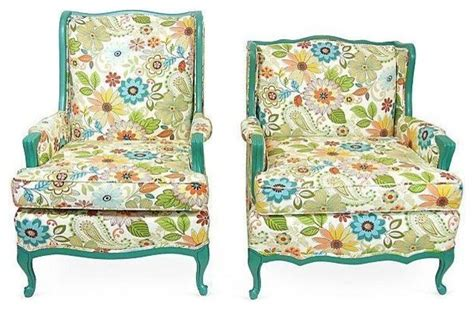 Blue Floral Armchair Pre Owned Coastal Blue Floral King Chairs A Pair