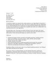 Cashier Supervisor Cover Letter by Cover Letter For Cashier My Document