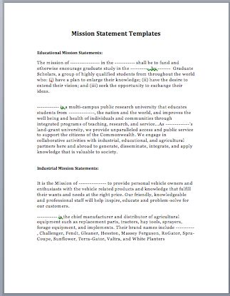 Statement Layout Template by Mission Statement Template Microsoft Word Templates