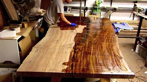 Diy Dining Room Table Plans by Finishing A Massive Claro Walnut Slab Table Live Edge