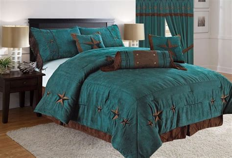 western red triple star comforter set rustic turquoise embroidery western luxury comforter suede 7pc ebay
