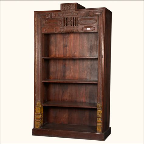 Classic Hand Carved Reclaimed Wood 4 Shelf Open Display Traditional Bookshelves