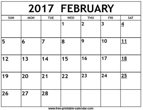 free online printable february calendar printable 2017 february calendar