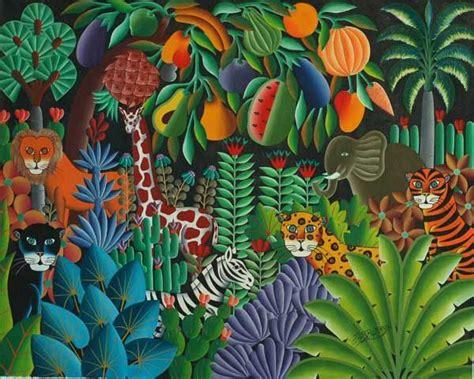 jungle paintings  haitian pierre maxo art naif