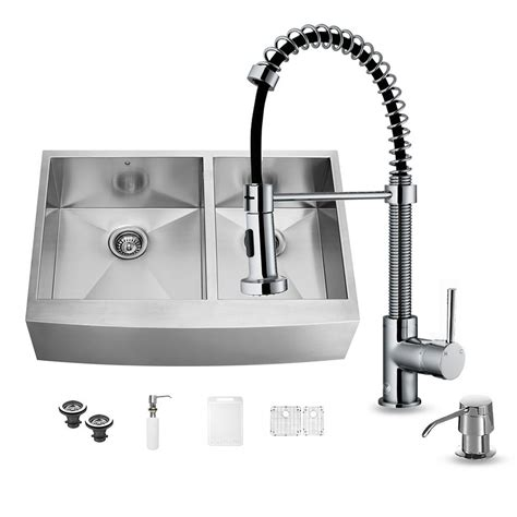 farmhouse sink with faucet holes vigo all in one farmhouse apron front stainless steel 36