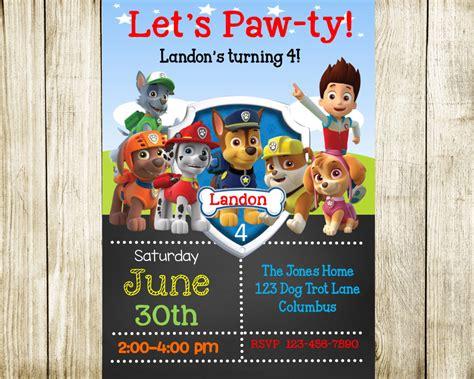 printable birthday invitations paw patrol paw patrol birthday paw patrol invitation by needmoredesigns