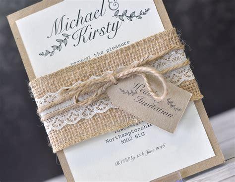 hessian wedding invitations rustic a6 wedding invitation bundle with hessian lace