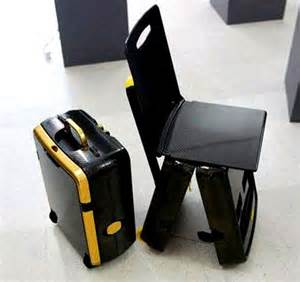 Space Saving For Small Bedrooms - small upright suitcase converts into a folding travel chair