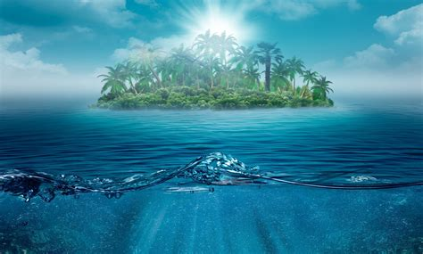wallpaper solitario isola oceano natura paesaggio