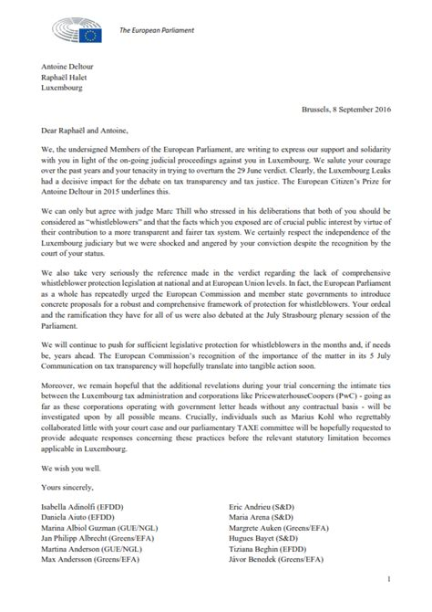 Response Letter To Whistleblower Letter To Luxleaks Whistleblowers 108 Members Of The European Parliament Show Solidarity Sven