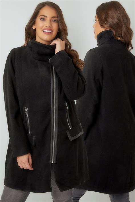 Fn Sweater Nots black biker style coat with pu trim plus size 16 to 36