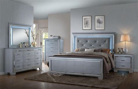 bedroom furniture silver martina silver bedroom set led crown mark rb7100 lillian luxury silver crocodile skin