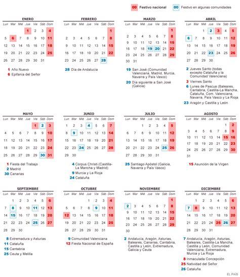 Calendario Colombia Año 2018 Festivos Calendario Laboral De 2015 Actualidad El Pa 205 S