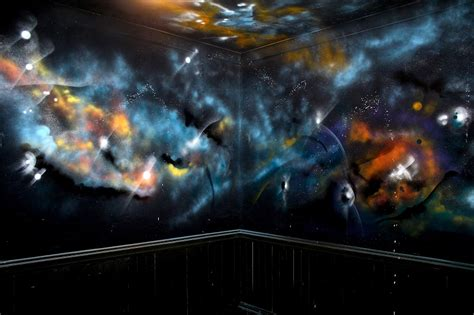 Full Wall Mural Decals outer space mural graffiti press