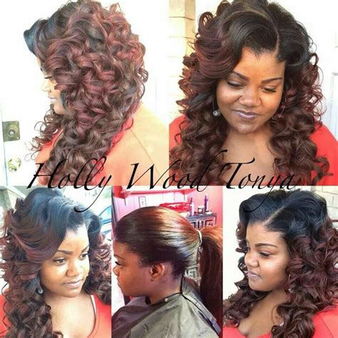 sew in wedding styles pull up sew in with wand curls hair make up pinterest