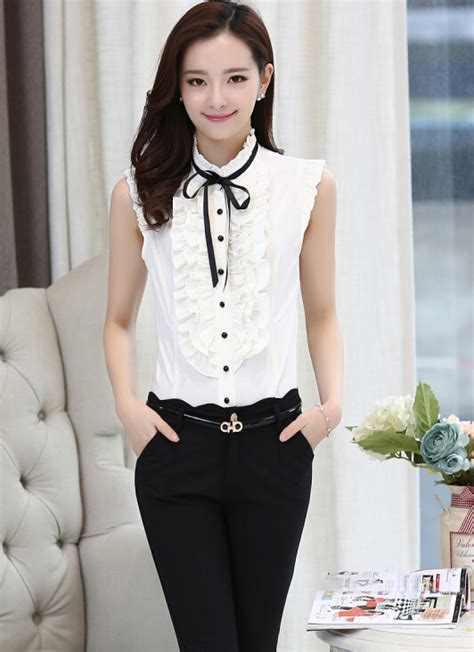Sale Blouse High Quality free shipping high quality plus size s korean sale stand collar sleeveless lotus leaf