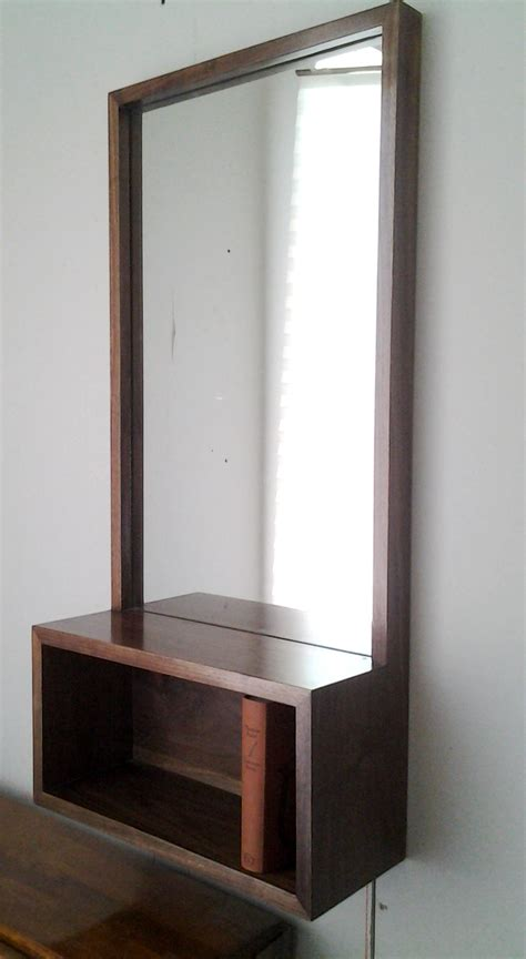 entry shelf walnut entry hall mirror with shelf